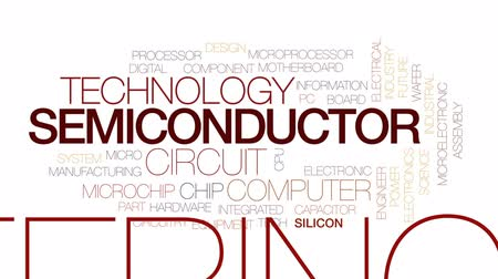 integrado : Semiconductor animated word cloud, text design animation. Kinetic typography. Stock Footage