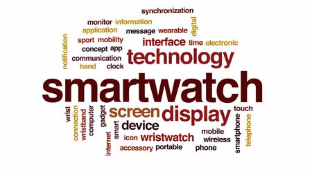 wristband : Smartwatch animated word cloud, text design animation. Stock Footage