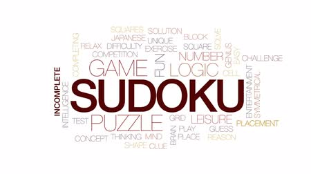 puzle : Sudoku animated word cloud, text design animation. Kinetic typography.