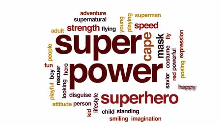 герой : Super power animated word cloud, text design animation. Стоковые видеозаписи
