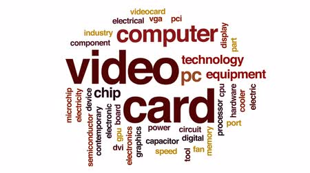 pci card : Video card animated word cloud, text design animation.