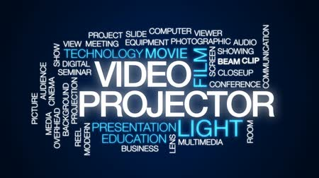 video reel : Video projector animated word cloud, text design animation.