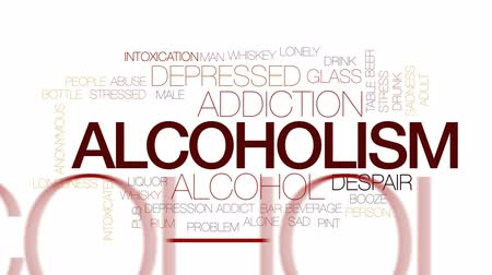 алкоголизм : Alcoholism animated word cloud, text design animation. Kinetic typography.