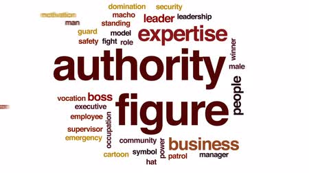 supervisor : Authority figure animated word cloud, text design animation. Stock Footage