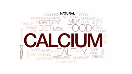 yoghurt : Calcium animated word cloud, text design animation. Kinetic typography. Stock Footage