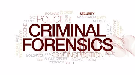 csi : Criminal forensics animated word cloud, text design animation. Kinetic typography. Stock Footage