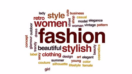 couture : Fashion animated word cloud, text design animation. Stock Footage