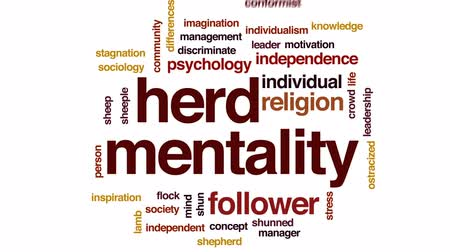 gazdasági pangás : Herd mentality animated word cloud, text design animation.