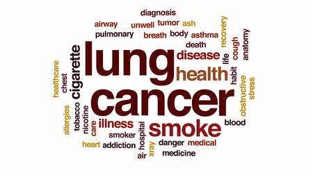 addiction recovery : Lung cancer animated word cloud, text design animation.