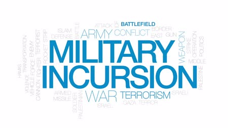idf : Military incursion animated word cloud, text design animation. Kinetic typography.