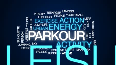 midair : Parkour animated word cloud, text design animation. Stock Footage