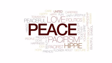 hippie : Peace animated word cloud, text design animation. Kinetic typography.