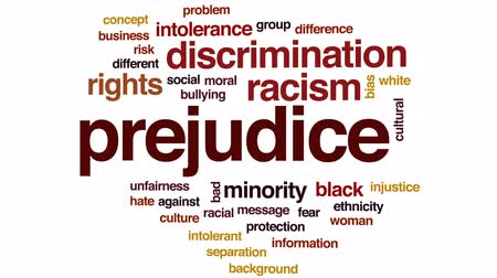 смещение : Prejudice animated word cloud, text design animation.