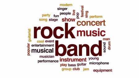 bassê : Rock band animated word cloud, text design animation.