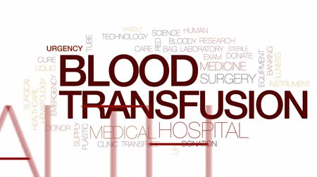 adomány : Blood transfusion animated word cloud, text design animation. Kinetic typography. Stock mozgókép