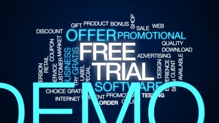 promocional : Free trial animated word cloud, text design animation.