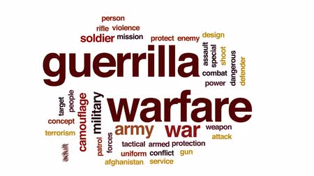guerrilla : Guerrilla warfare animated word cloud, text design animation. Stock Footage
