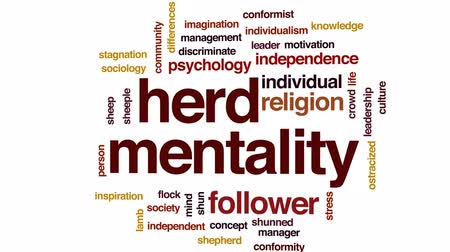 pszichológia : Herd mentality animated word cloud, text design animation.