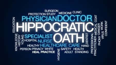 sebész : Hippocratic oath animated word cloud, text design animation. Stock mozgókép