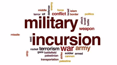 idf : Military incursion animated word cloud, text design animation.