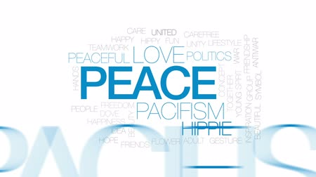 holubice : Peace animated word cloud, text design animation. Kinetic typography.