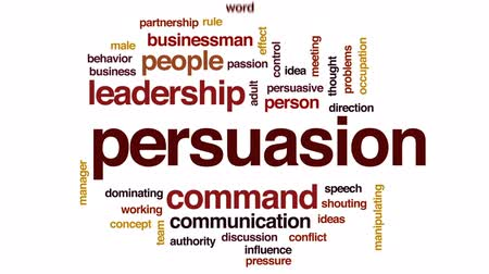 persuasion : Persuasion animated word cloud, text design animation. Stock Footage