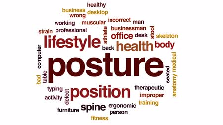 pozisyon : Posture animated word cloud, text design animation.