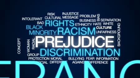 культурный : Prejudice animated word cloud, text design animation.