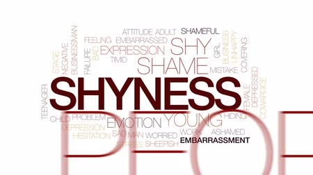shameful : Shyness animated word cloud, text design animation. Kinetic typography. Stock Footage