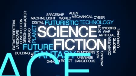 sciencefiction : Science fiction geanimeerde woordwolk, tekstontwerpanimatie.