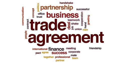 parceiro : Trade agreement animated word cloud, text design animation. Stock Footage