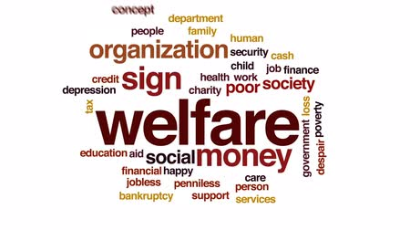 jobless : Welfare animated word cloud, text design animation.