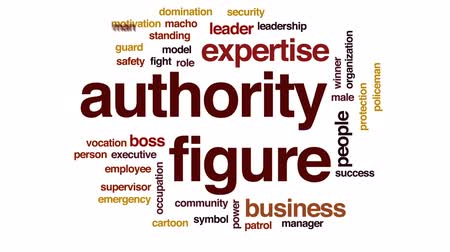 maço : Authority figure animated word cloud, text design animation. Stok Video