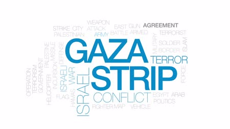 filistin : Gaza strip animated word cloud, text design animation. Kinetic typography. Stok Video