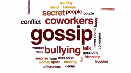 pletyka : Gossip animated word cloud, text design animation.