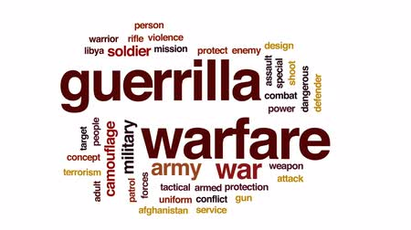 defending : Guerrilla warfare animated word cloud, text design animation. Stock Footage