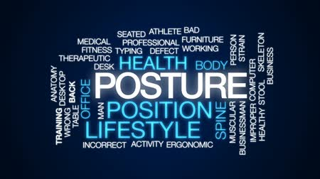 healthy office : Posture animated word cloud, text design animation.