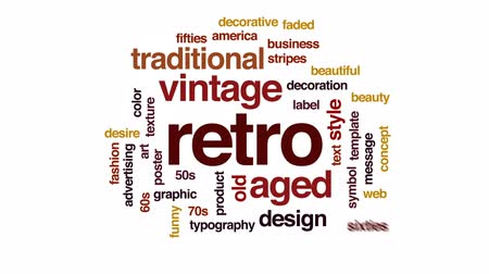семидесятые годы : Retro animated word cloud, text design animation.