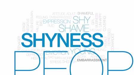 preocupar se : Shyness animated word cloud, text design animation. Kinetic typography. Vídeos