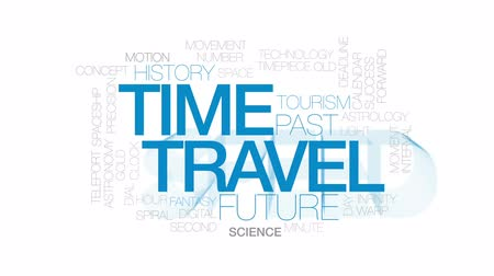 órák : Time travel animated word cloud, text design animation. Kinetic typography. Stock mozgókép