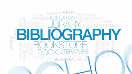 alfabetização : Bibliography animated word cloud, text design animation. Kinetic typography.