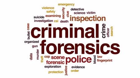 investigador : Criminal forensics animated word cloud, text design animation.