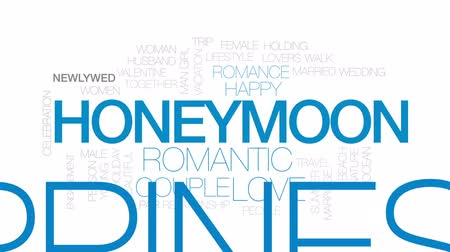 новобрачный : Honeymoon animated word cloud, text design animation. Kinetic typography. Стоковые видеозаписи