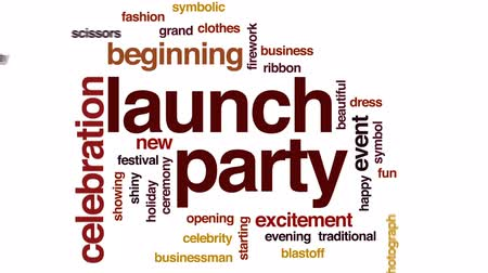celebrities : Launch party animated word cloud, text design animation.
