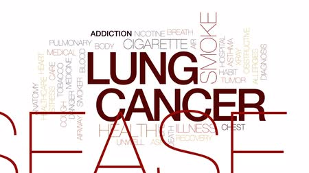 addiction recovery : Lung cancer animated word cloud, text design animation. Kinetic typography.