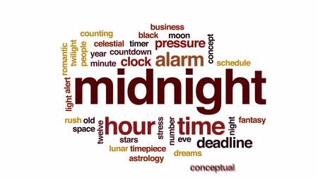 horas : Midnight animated word cloud, text design animation.