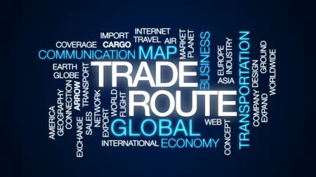 oklar : Trade route animated word cloud, text design animation.