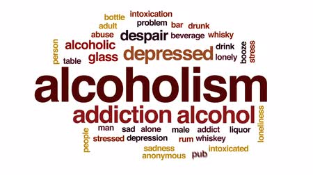 abuso : Alcoholism animated word cloud, text design animation.
