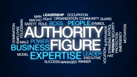 autoridade : Authority figure animated word cloud, text design animation. Stock Footage