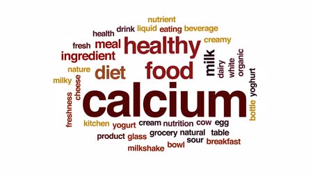 cow milk : Calcium animated word cloud, text design animation.